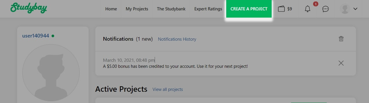 'Create a project' link in the top navigation panel