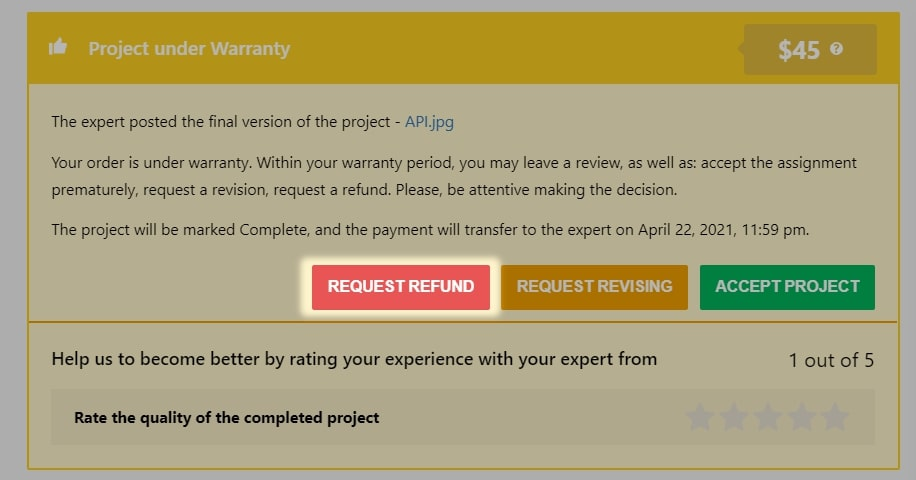 Red 'request refund' button on the project's page